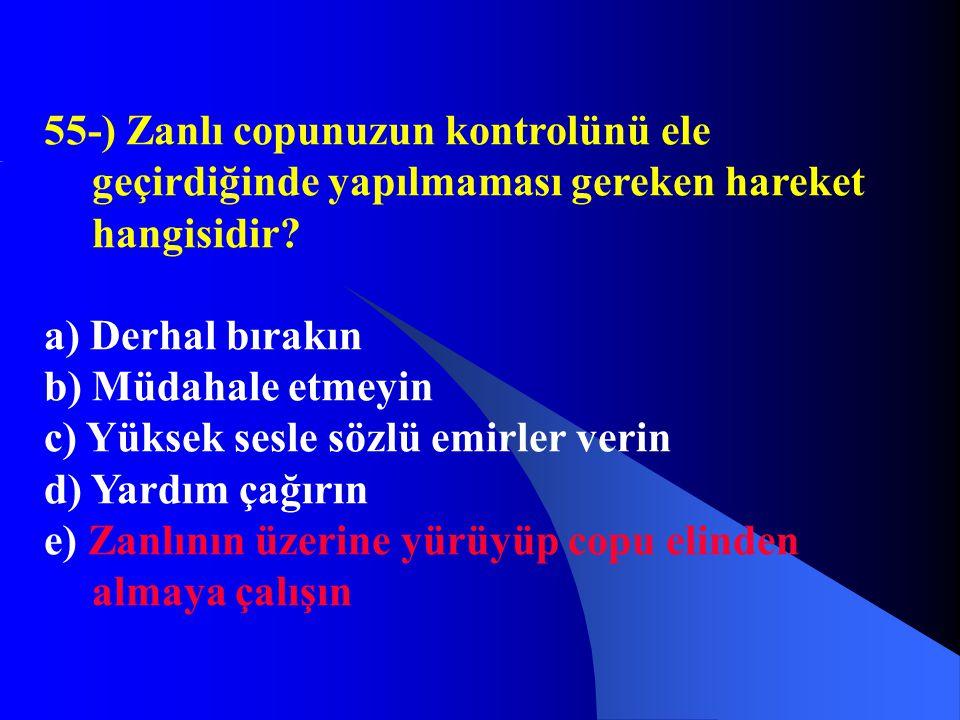 55-) Zanlı copunuzun kontrolünü ele geçirdiğinde yapılmaması gereken hareket hangisidir? a) Derhal bırakın b) Müdahale etmeyin c) Yüksek sesle sözlü e