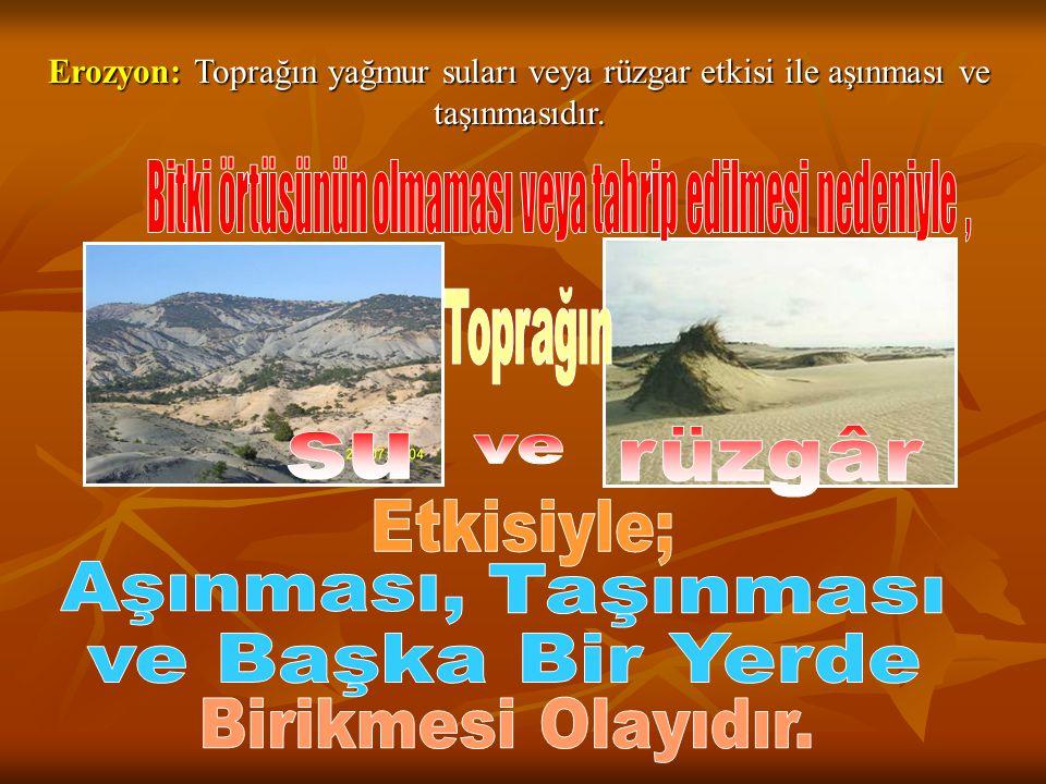 Erozyon: Toprağın yağmur suları veya rüzgar etkisi ile aşınması ve taşınmasıdır.