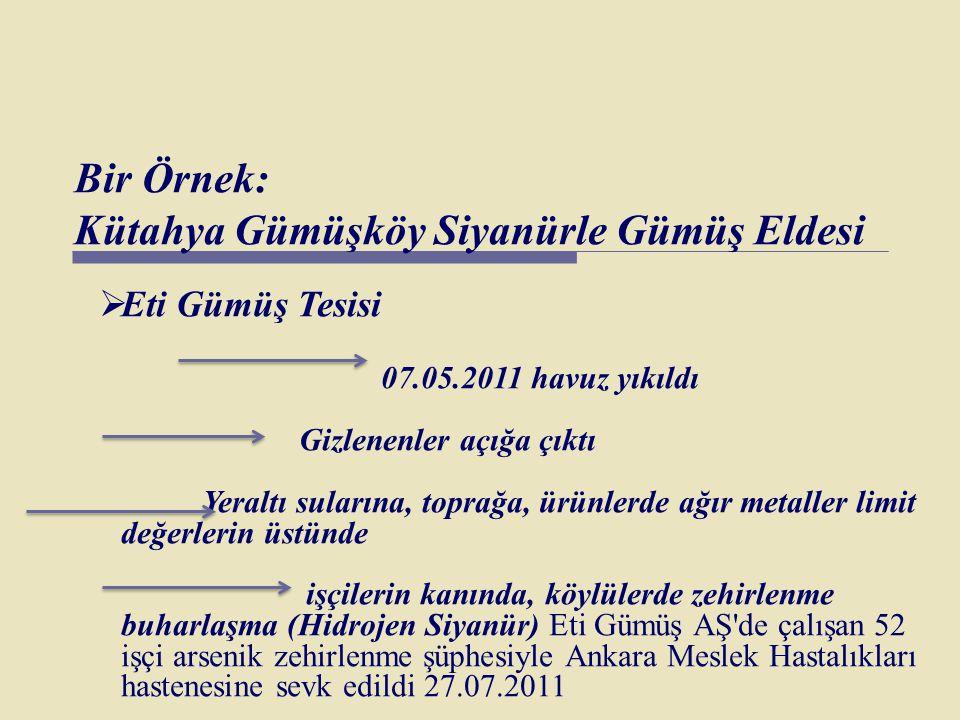 Bir Örnek: Kütahya Gümüşköy Siyanürle Gümüş Eldesi  Eti Gümüş Tesisi 07.05.2011 havuz yıkıldı Gizlenenler açığa çıktı Yeraltı sularına, toprağa, ürün