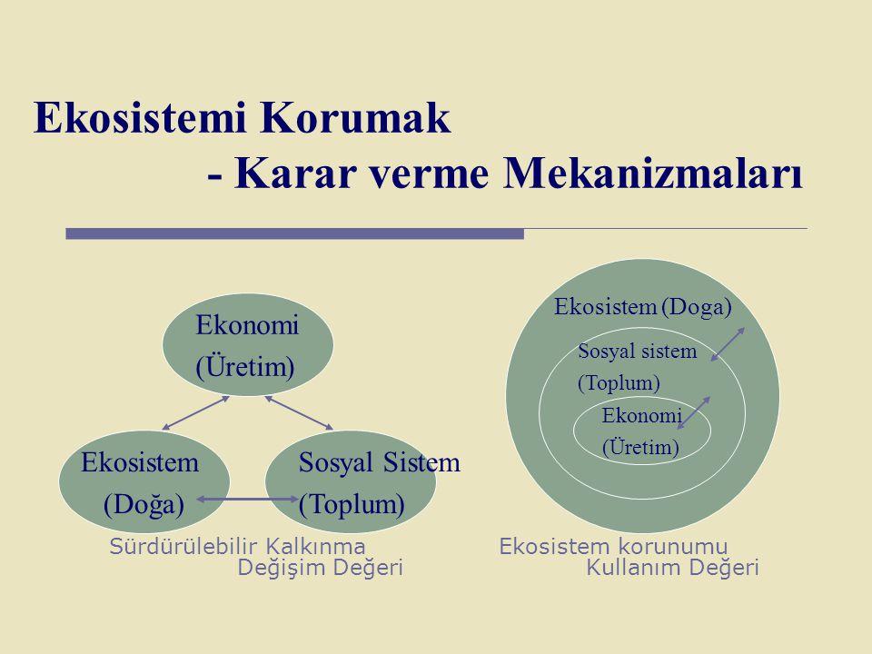 Ekosistemi Korumak - Karar verme Mekanizmaları Sürdürülebilir Kalkınma Ekosistem korunumu Değişim DeğeriKullanım Değeri Ekonomi (Üretim) Ekosistem (Do