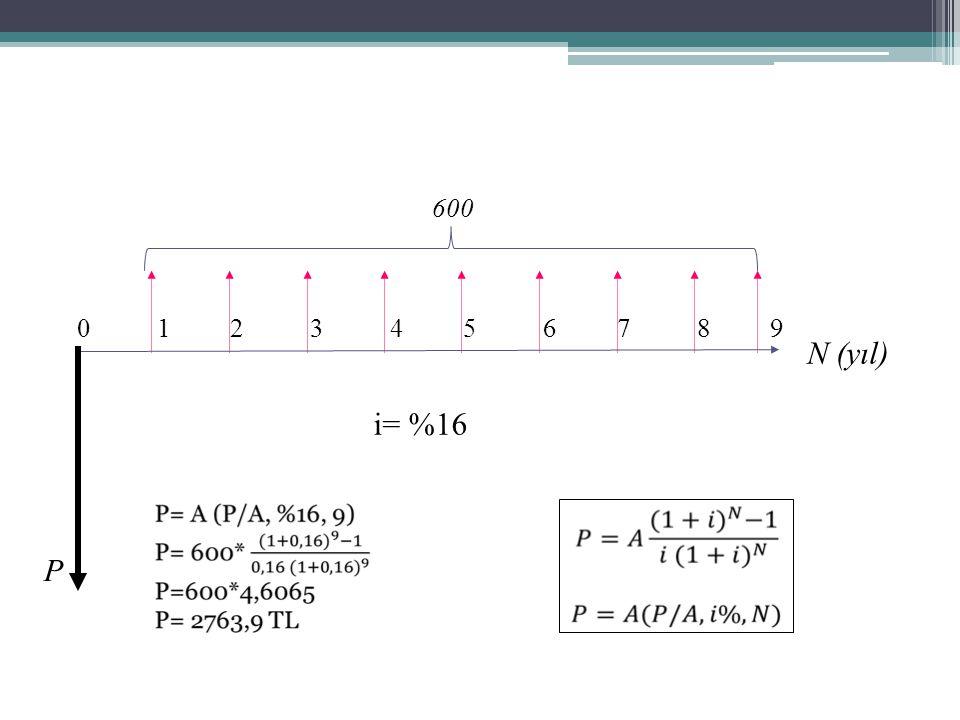 0 1 2 3 4 5 6 7 8 9 N (yıl) P i= %16 600