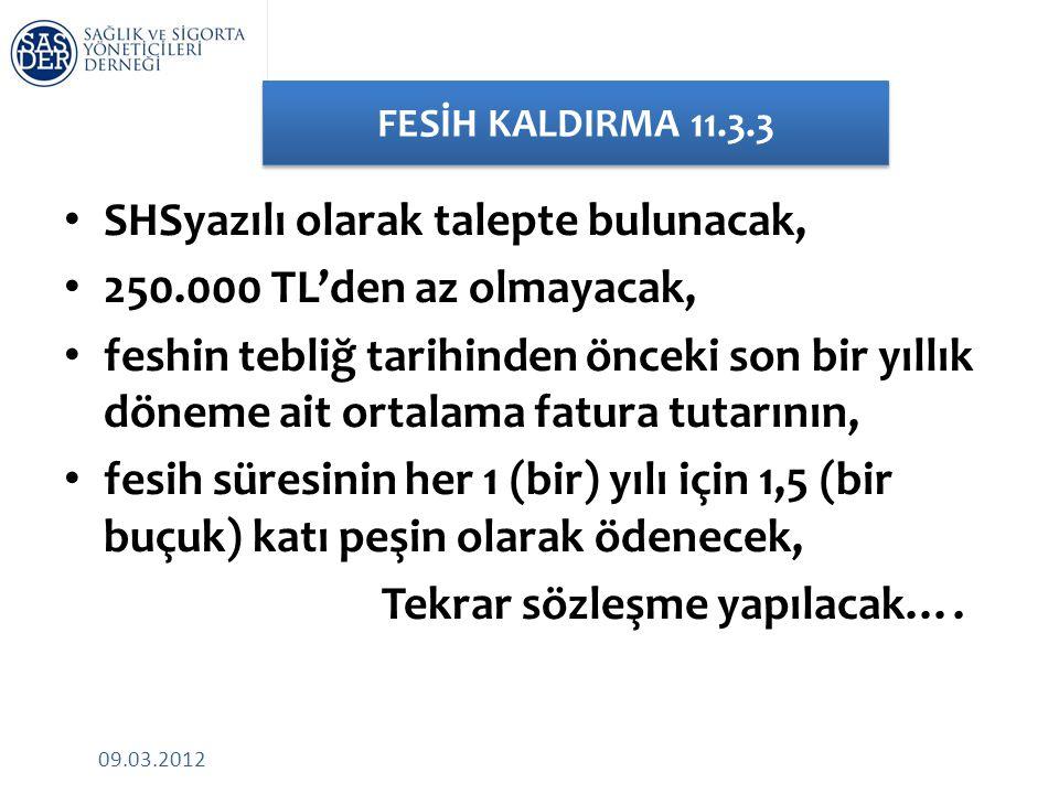 09.03.2012 FESİH KALDIRMA 11.3.3 • SHSyazılı olarak talepte bulunacak, • 250.000 TL'den az olmayacak, • feshin tebliğ tarihinden önceki son bir yıllık