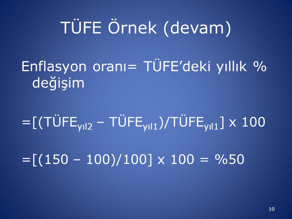 TÜFE Örnek (devam) Enflasyon oranı= TÜFE'deki yıllık % değişim =[(TÜFE yıl2 – TÜFE yıl1 )/TÜFE yıl1 ] x 100 =[(150 – 100)/100] x 100 = %50 10