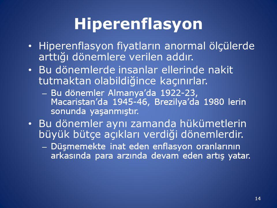 Hiperenflasyon • Hiperenflasyon fiyatların anormal ölçülerde arttığı dönemlere verilen addır. • Bu dönemlerde insanlar ellerinde nakit tutmaktan olabi