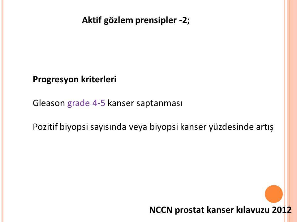 Aktif gözlem prensipler -2; NCCN prostat kanser kılavuzu 2012 Progresyon kriterleri Gleason grade 4-5 kanser saptanması Pozitif biyopsi sayısında veya biyopsi kanser yüzdesinde artış