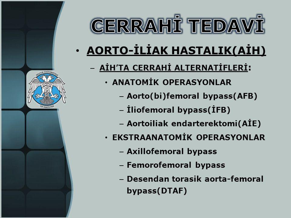 • AORTO-İLİAK HASTALIK(AİH) – AİH'TA CERRAHİ ALTERNATİFLERİ : • ANATOMİK OPERASYONLAR – Aorto(bi)femoral bypass(AFB) – İliofemoral bypass(İFB) – Aorto