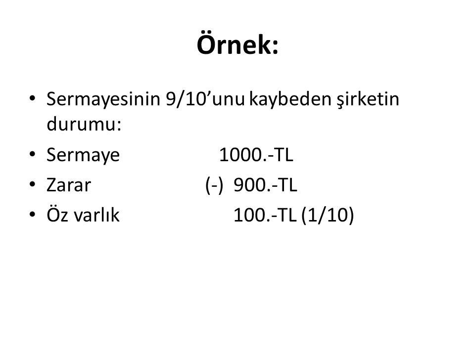 Örnek: • Sermayesinin 9/10'unu kaybeden şirketin durumu: • Sermaye1000.-TL • Zarar (-) 900.-TL • Öz varlık 100.-TL (1/10)