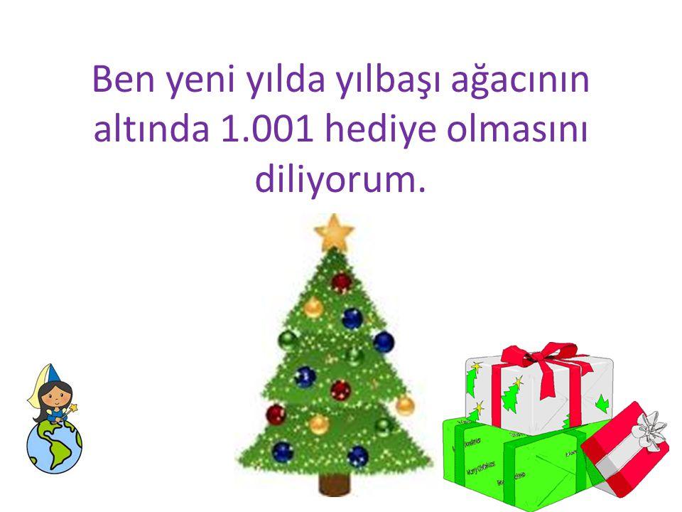 Ben yeni yılda yılbaşı ağacının altında 1.001 hediye olmasını diliyorum.
