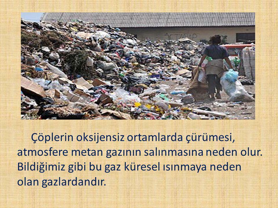 Çöplerin oksijensiz ortamlarda çürümesi, atmosfere metan gazının salınmasına neden olur. Bildiğimiz gibi bu gaz küresel ısınmaya neden olan gazlardand
