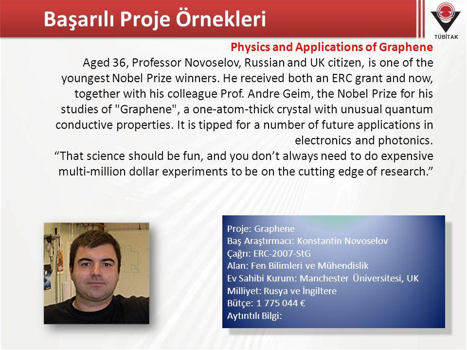 TÜBİTAK Başarılı Proje Örnekleri Physics and Applications of Graphene Aged 36, Professor Novoselov, Russian and UK citizen, is one of the youngest Nobel Prize winners.