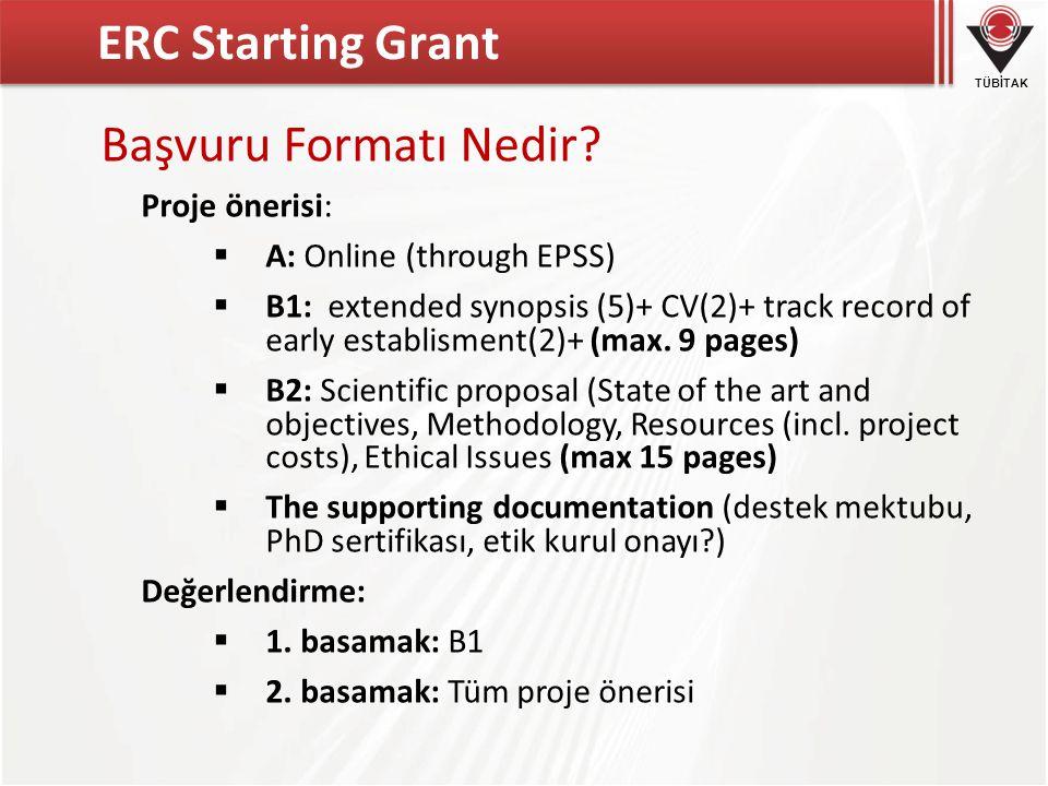 TÜBİTAK ERC Starting Grant Başvuru Formatı Nedir.