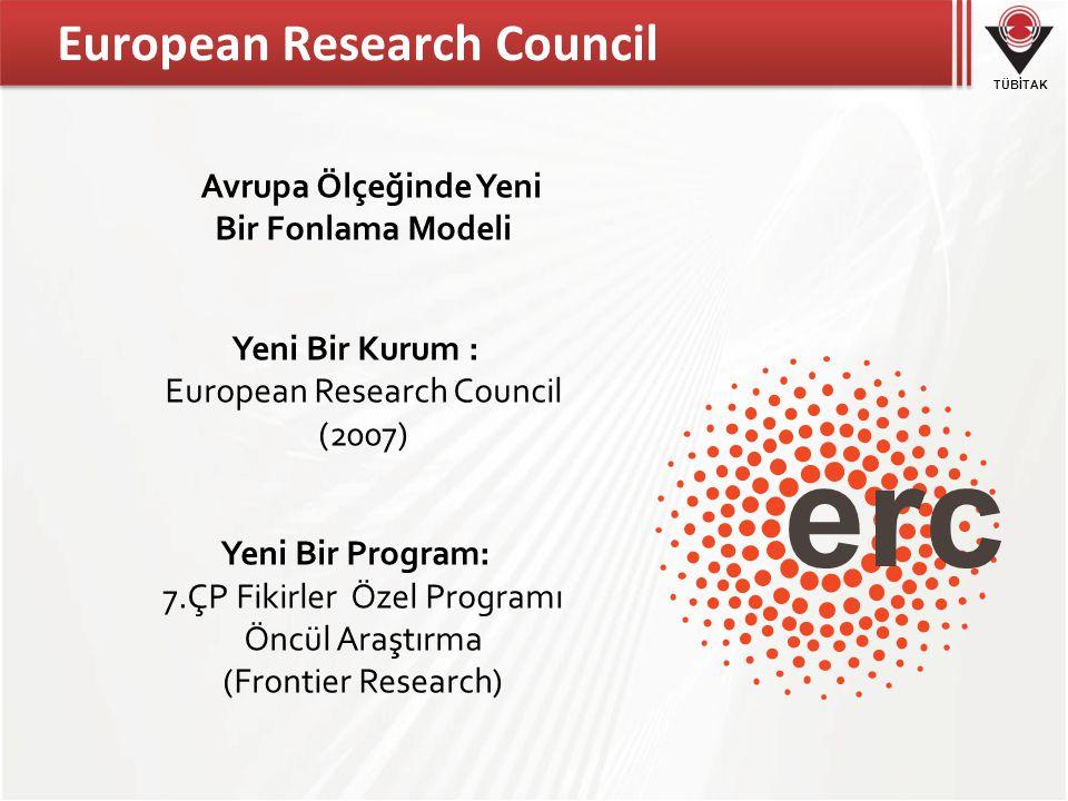 TÜBİTAK European Research Council Avrupa Ölçeğinde Yeni Bir Fonlama Modeli Yeni Bir Kurum : European Research Council (2007) Yeni Bir Program: 7.ÇP Fikirler Özel Programı Öncül Araştırma (Frontier Research)