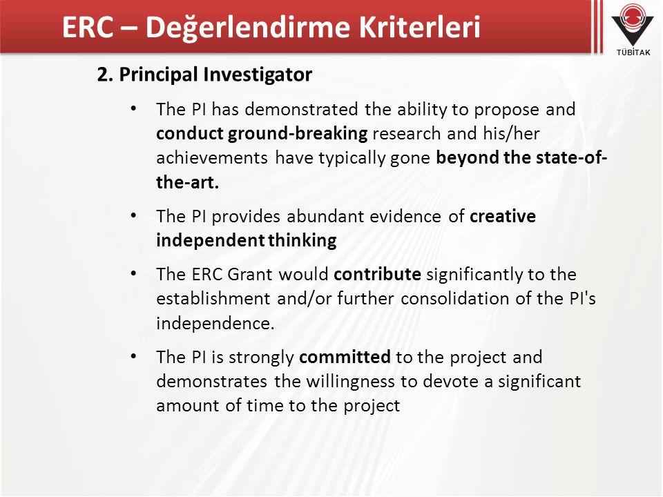 TÜBİTAK ERC – Değerlendirme Kriterleri 2.
