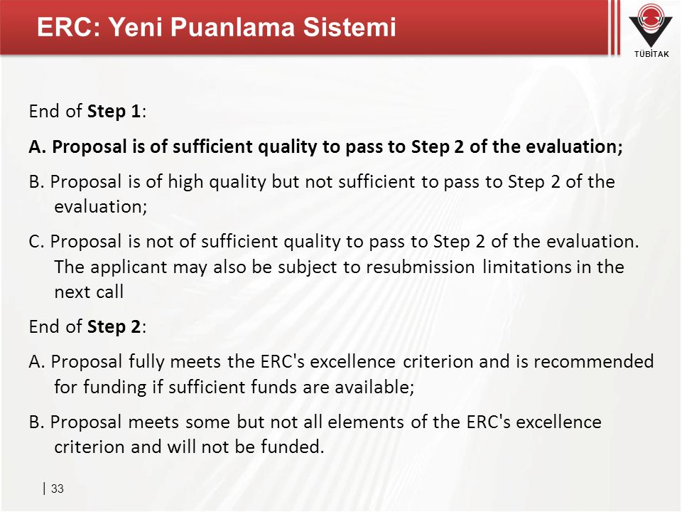 TÜBİTAK ERC: Yeni Puanlama Sistemi │ 33 End of Step 1: A. Proposal is of sufficient quality to pass to Step 2 of the evaluation; B. Proposal is of hig