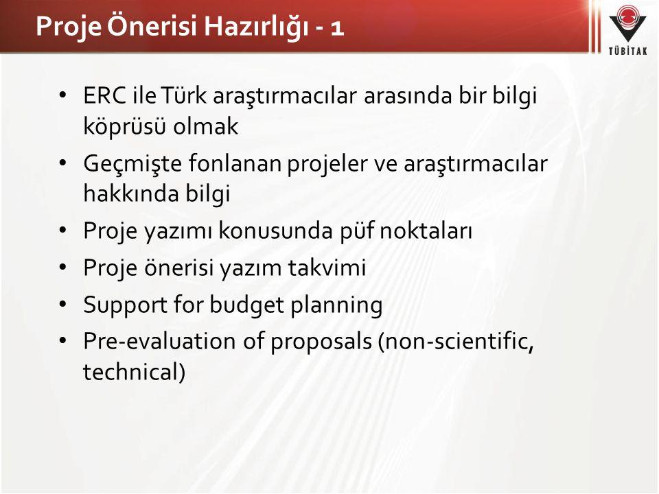 Proje Önerisi Hazırlığı - 1 • ERC ile Türk araştırmacılar arasında bir bilgi köprüsü olmak • Geçmişte fonlanan projeler ve araştırmacılar hakkında bilgi • Proje yazımı konusunda püf noktaları • Proje önerisi yazım takvimi • Support for budget planning • Pre-evaluation of proposals (non-scientific, technical)