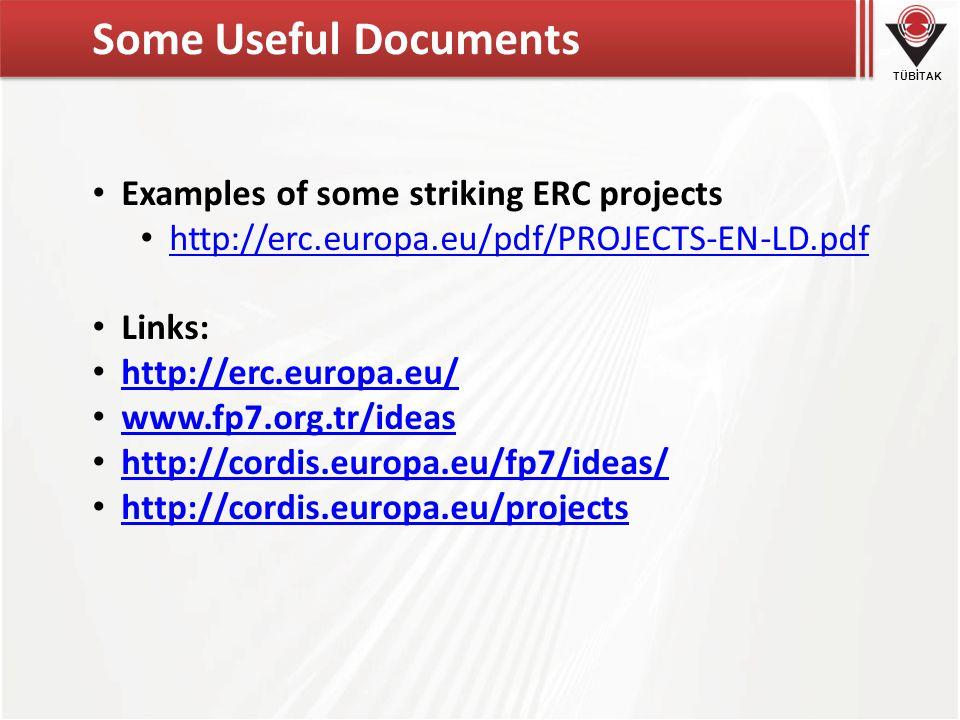 TÜBİTAK Some Useful Documents • Examples of some striking ERC projects • http://erc.europa.eu/pdf/PROJECTS-EN-LD.pdf http://erc.europa.eu/pdf/PROJECTS-EN-LD.pdf • Links: • http://erc.europa.eu/ http://erc.europa.eu/ • www.fp7.org.tr/ideas www.fp7.org.tr/ideas • http://cordis.europa.eu/fp7/ideas/ http://cordis.europa.eu/fp7/ideas/ • http://cordis.europa.eu/projects http://cordis.europa.eu/projects