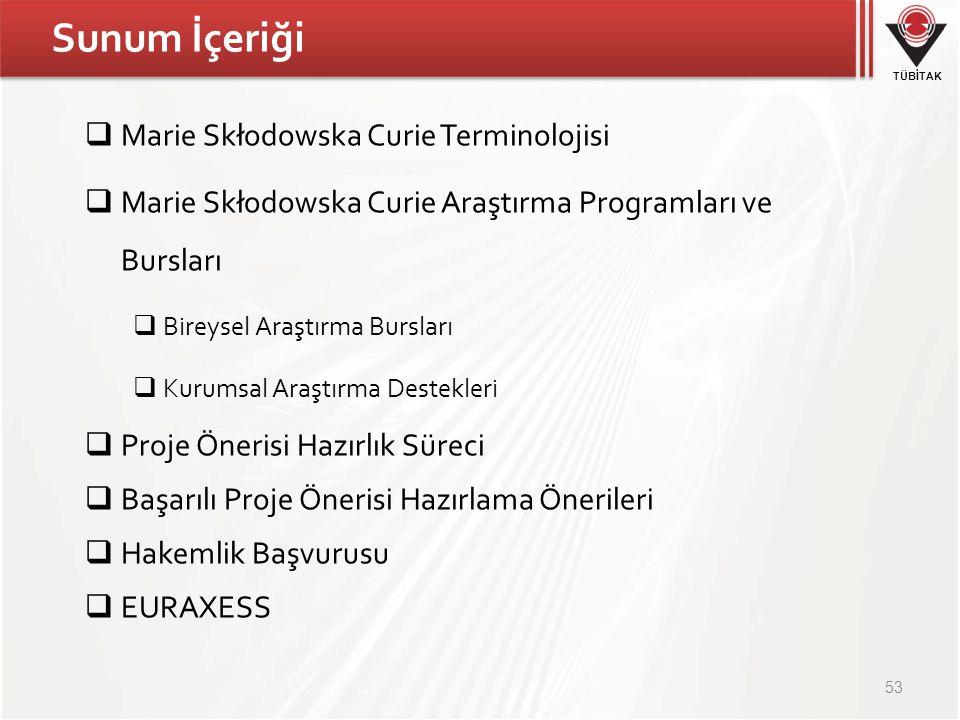 TÜBİTAK Sunum İçeriği  Marie Skłodowska Curie Terminolojisi  Marie Skłodowska Curie Araştırma Programları ve Bursları  Bireysel Araştırma Bursları  Kurumsal Araştırma Destekleri  Proje Önerisi Hazırlık Süreci  Başarılı Proje Önerisi Hazırlama Önerileri  Hakemlik Başvurusu  EURAXESS 53