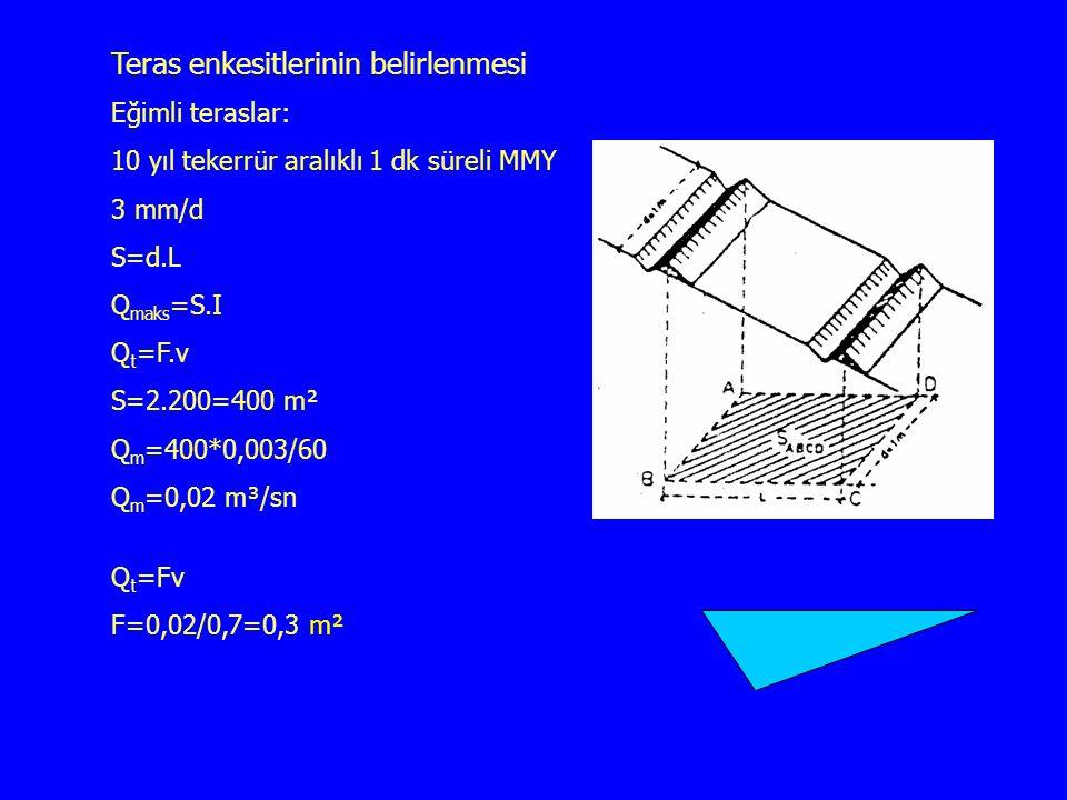 Teras enkesitlerinin belirlenmesi Eğimli teraslar: 10 yıl tekerrür aralıklı 1 dk süreli MMY 3 mm/d S=d.L Q maks =S.I Q t =F.v S=2.200=400 m² Q m =400*