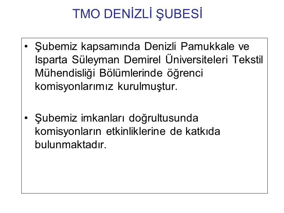 TMO DENİZLİ ŞUBESİ •Şubemiz kapsamında Denizli Pamukkale ve Isparta Süleyman Demirel Üniversiteleri Tekstil Mühendisliği Bölümlerinde öğrenci komisyonlarımız kurulmuştur.
