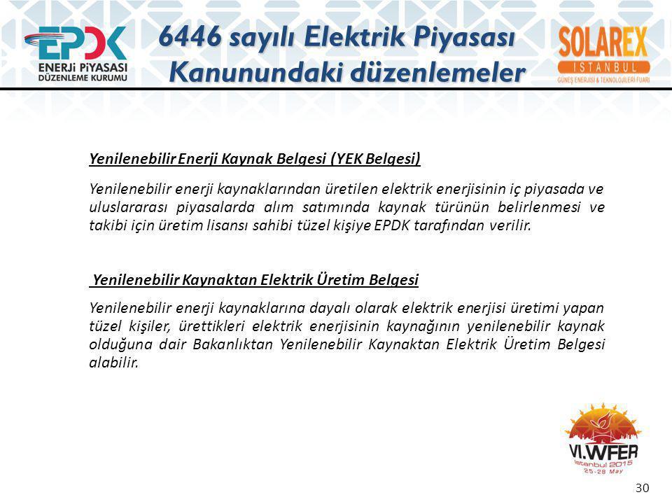 30 Yenilenebilir Enerji Kaynak Belgesi (YEK Belgesi) Yenilenebilir enerji kaynaklarından üretilen elektrik enerjisinin iç piyasada ve uluslararası piy