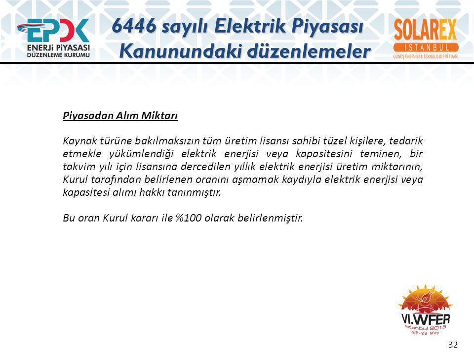 K U R U L K A R A R I Karar No: 3842 Karar Tarihi: 24/05/2012 Enerji Piyasası Düzenleme Kurulunun 24/05/2012 tarihli toplantısında; • 5346 sayılı YEK Kanununun 6/c maddesinin beşinci fıkrası çerçevesinde YEK belgeli güneş enerjisine dayalı, toplam kurulu gücü 600 (altıyüz) MW olacak üretim tesisleri için; üretim lisansı başvurularının 10-14 Haziran 2013 tarihleri arasında, 09:00-18:00 saatleri arasında alınmasına, • Proje geliştirilen arazinin; Tarım Arazilerinin Korunması, Kullanılması ve Arazi Toplulaştırmasına İlişkin Tüzük uyarınca; - Mutlak tarım arazileri, - Özel ürün arazileri, - Dikili tarım arazileri, - Sulu tarım arazileri, - Çevre arazilerde tarımsal kullanım bütünlüğünü bozan alanlarda, güneş enerjisine dayalı üretim tesisleri için lisans başvurusu alınmamasına, Güneş enerjisine dayalı başvurulara ilişkin kurul kararı 33