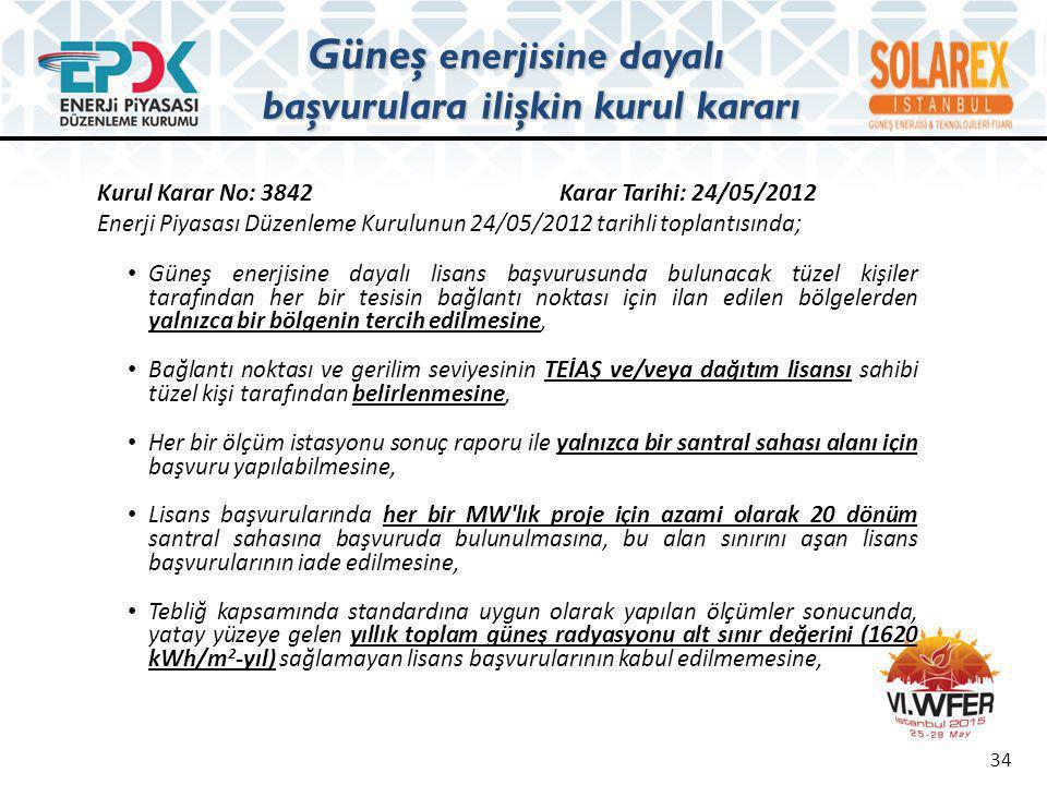 Kurul Karar No: 3842 Karar Tarihi: 24/05/2012 Enerji Piyasası Düzenleme Kurulunun 24/05/2012 tarihli toplantısında; • Güneş enerjisine dayalı lisans b