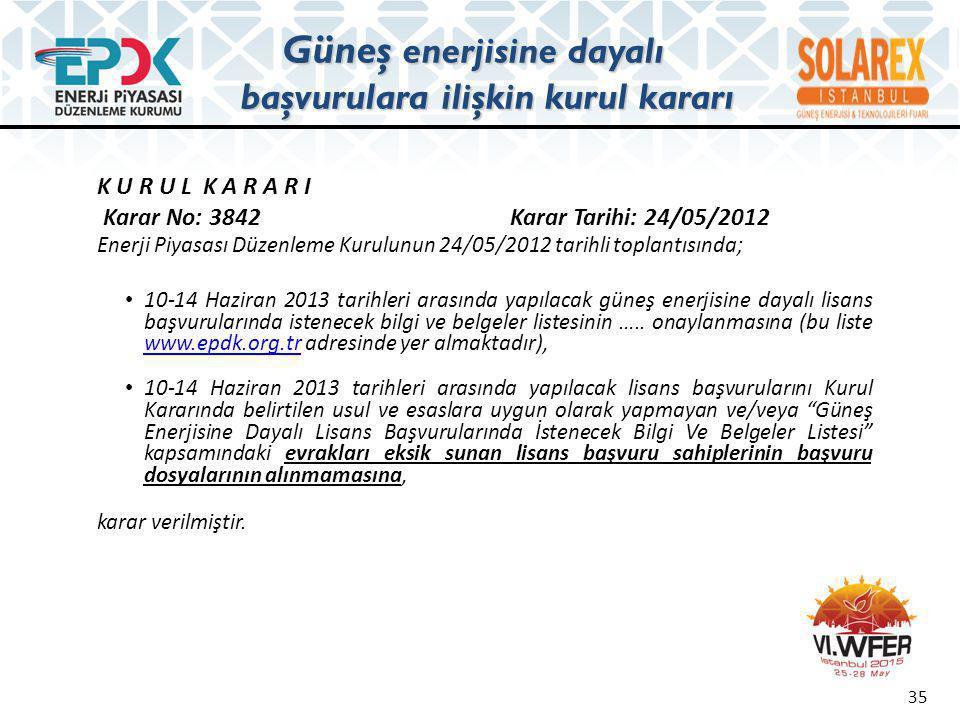 K U R U L K A R A R I Karar No: 3842 Karar Tarihi: 24/05/2012 Enerji Piyasası Düzenleme Kurulunun 24/05/2012 tarihli toplantısında; • 10-14 Haziran 20