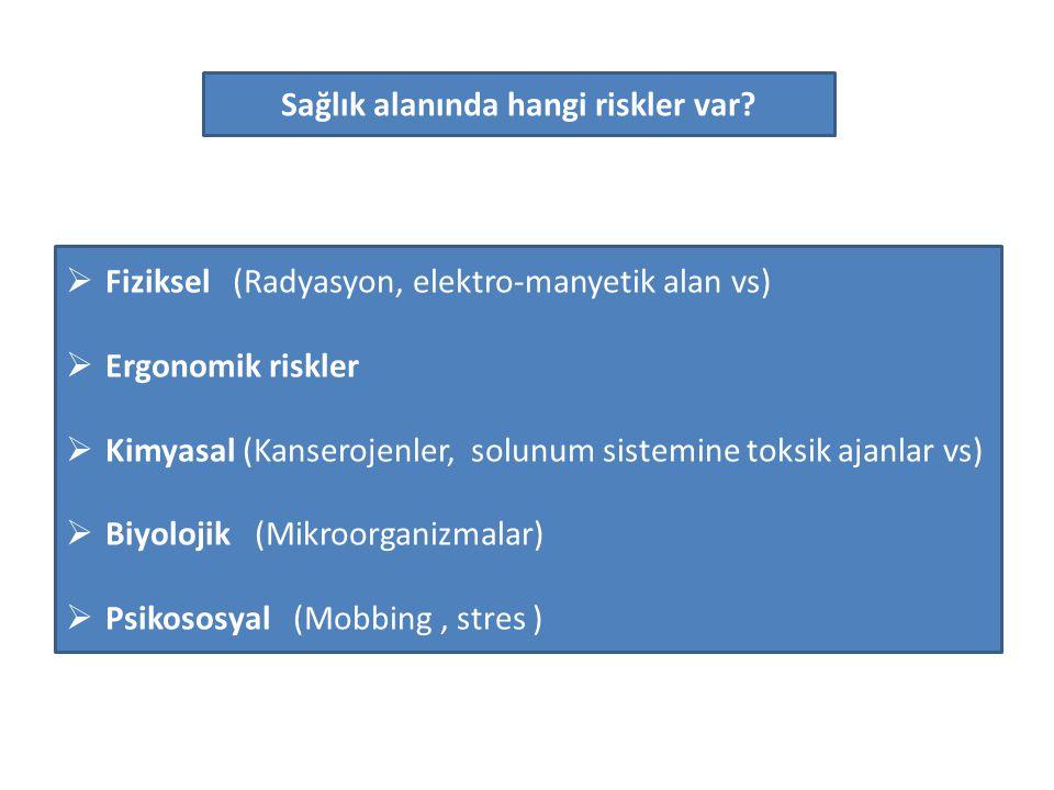 Sağlık alanında hangi riskler var?  Fiziksel (Radyasyon, elektro-manyetik alan vs)  Ergonomik riskler  Kimyasal (Kanserojenler, solunum sistemine t