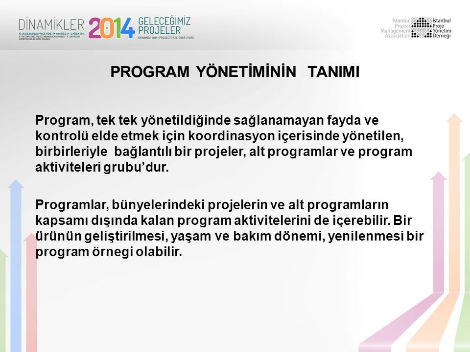 Program, tek tek yönetildiğinde sağlanamayan fayda ve kontrolü elde etmek için koordinasyon içerisinde yönetilen, birbirleriyle bağlantılı bir projeler, alt programlar ve program aktiviteleri grubu'dur.