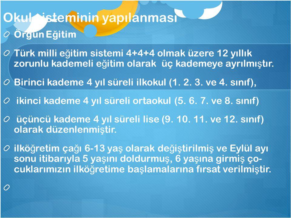 Okul sisteminin yapılanması Örgün E ğ itim Türk milli e ğ itim sistemi 4+4+4 olmak üzere 12 yıllık zorunlu kademeli e ğ itim olarak üç kademeye ayrılm