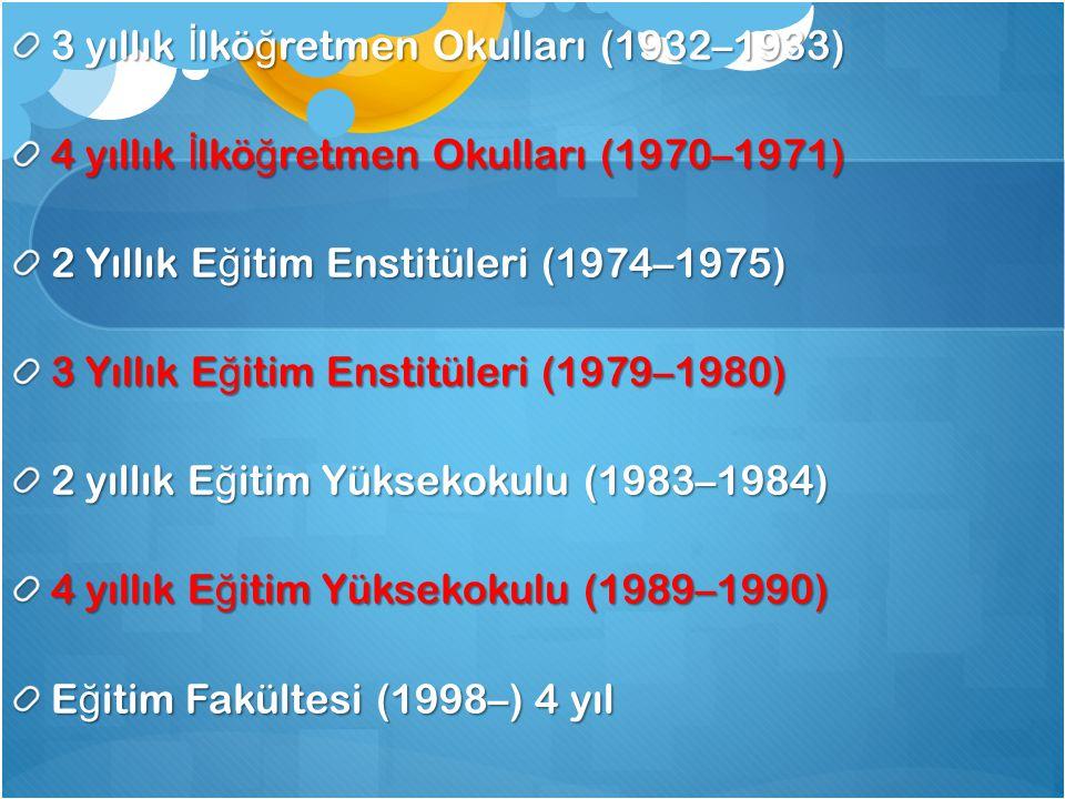 3 yıllık İ lkö ğ retmen Okulları (1932–1933) 4 yıllık İ lkö ğ retmen Okulları (1970–1971) 2 Yıllık E ğ itim Enstitüleri (1974–1975) 3 Yıllık E ğ itim