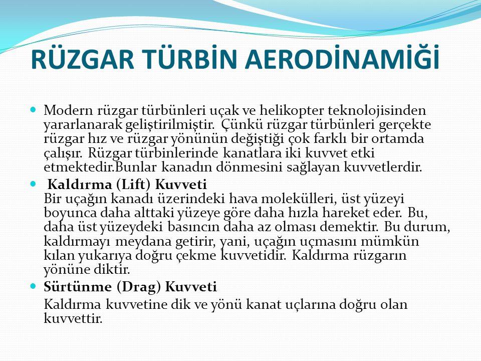 RÜZGAR TÜRBİN AERODİNAMİĞİ  Modern rüzgar türbünleri uçak ve helikopter teknolojisinden yararlanarak geliştirilmiştir. Çünkü rüzgar türbünleri gerçek