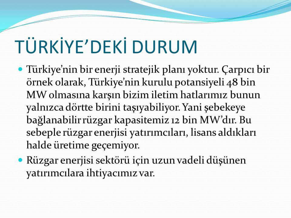 TÜRKİYE'DEKİ DURUM  Türkiye'nin bir enerji stratejik planı yoktur. Çarpıcı bir örnek olarak, Türkiye'nin kurulu potansiyeli 48 bin MW olmasına karşın