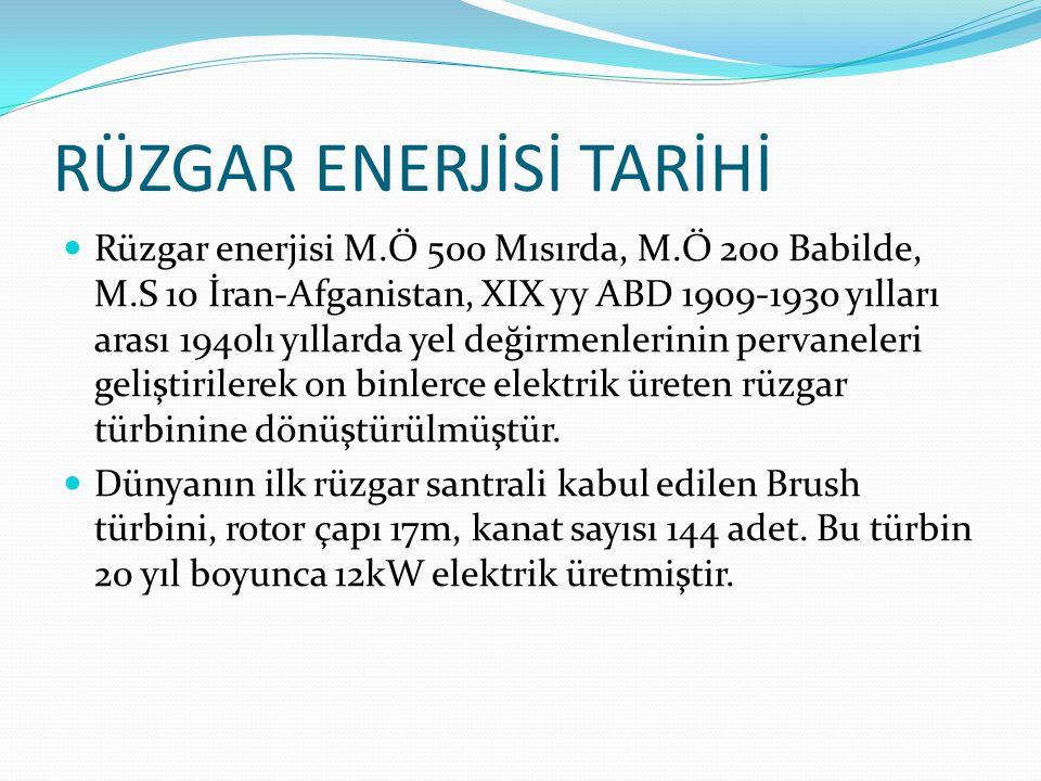 RÜZGAR ENERJİSİ TARİHİ  Rüzgar enerjisi M.Ö 500 Mısırda, M.Ö 200 Babilde, M.S 10 İran-Afganistan, XIX yy ABD 1909-1930 yılları arası 1940lı yıllarda