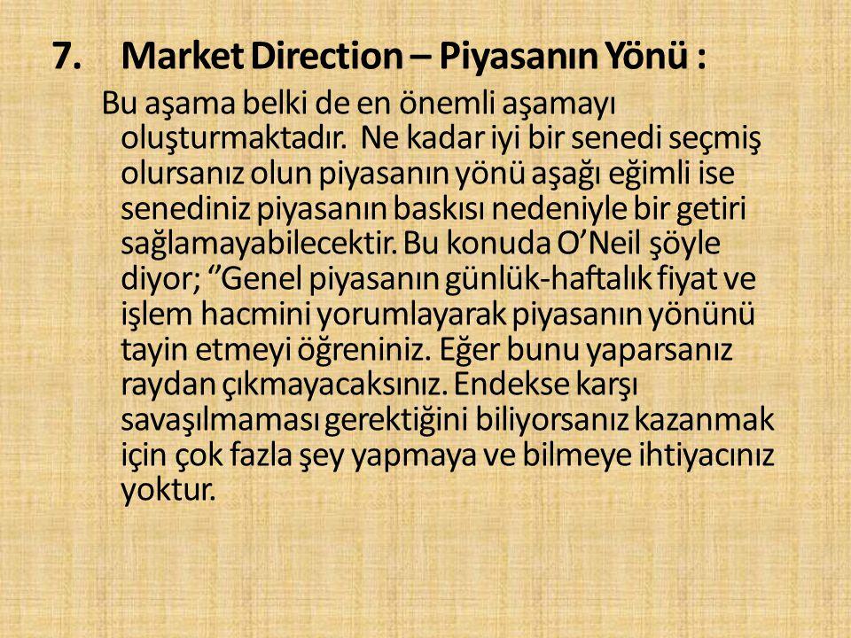 7.Market Direction – Piyasanın Yönü : Bu aşama belki de en önemli aşamayı oluşturmaktadır. Ne kadar iyi bir senedi seçmiş olursanız olun piyasanın yön