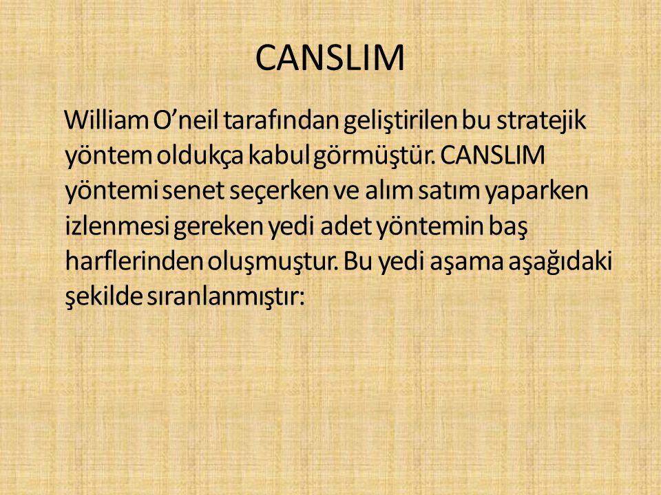 CANSLIM William O'neil tarafından geliştirilen bu stratejik yöntem oldukça kabul görmüştür. CANSLIM yöntemi senet seçerken ve alım satım yaparken izle