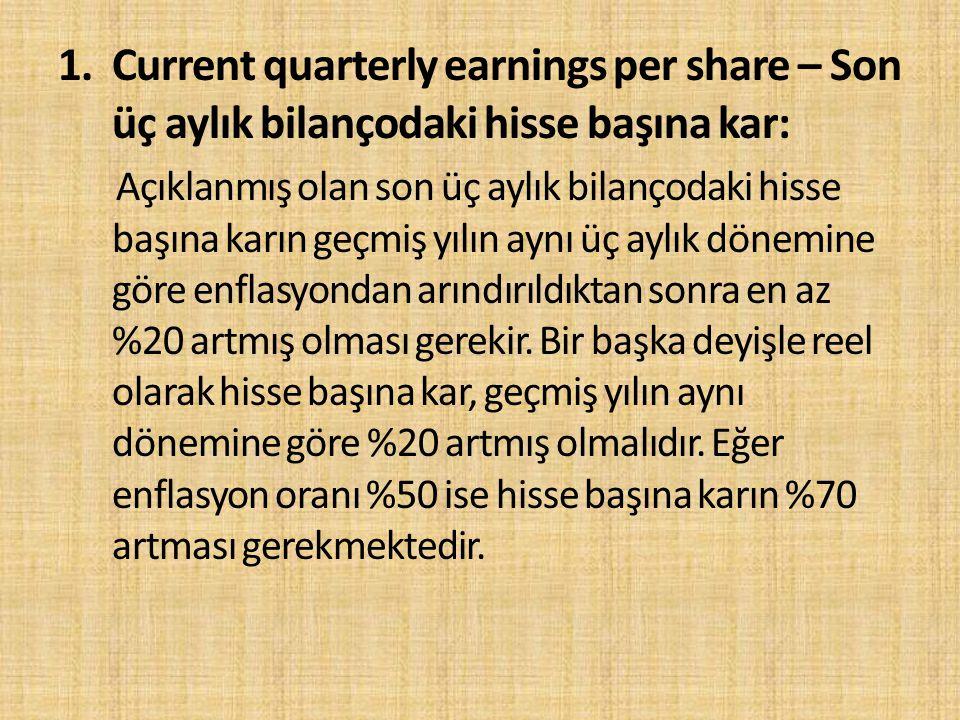 1. Current quarterly earnings per share – Son üç aylık bilançodaki hisse başına kar: Açıklanmış olan son üç aylık bilançodaki hisse başına karın geçmi