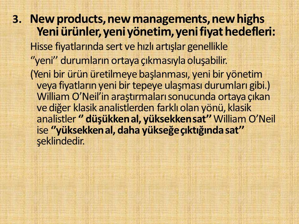 3. New products, new managements, new highs Yeni ürünler, yeni yönetim, yeni fiyat hedefleri: Hisse fiyatlarında sert ve hızlı artışlar genellikle ''y