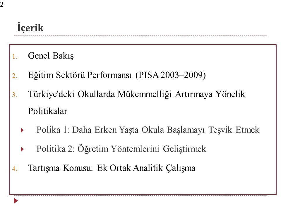 İçerik 1. Genel Bakış 2. Eğitim Sektörü Performansı (PISA 2003–2009) 3.