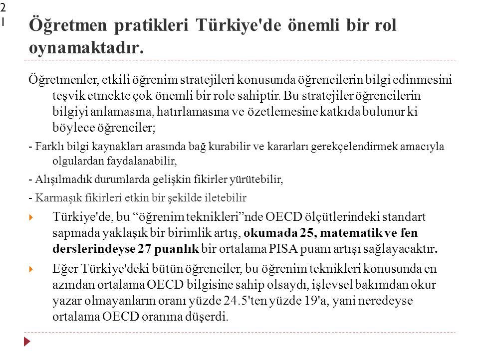 Öğretmen pratikleri Türkiye de önemli bir rol oynamaktadır.21 Öğretmenler, etkili öğrenim stratejileri konusunda öğrencilerin bilgi edinmesini teşvik etmekte çok önemli bir role sahiptir.