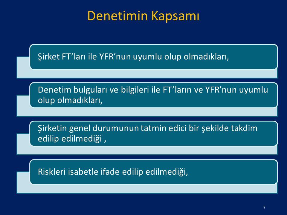 Denetimin Kapsamı 7 Şirket FT'ları ile YFR'nun uyumlu olup olmadıkları, Denetim bulguları ve bilgileri ile FT'ların ve YFR'nun uyumlu olup olmadıkları