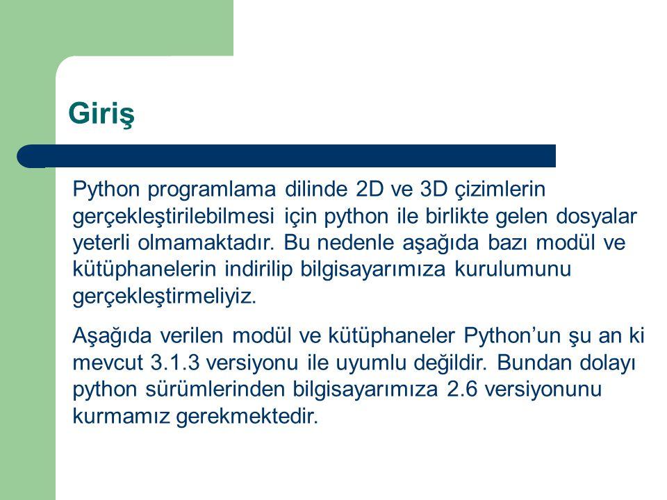 Giriş Python programlama dilinde 2D ve 3D çizimlerin gerçekleştirilebilmesi için python ile birlikte gelen dosyalar yeterli olmamaktadır. Bu nedenle a