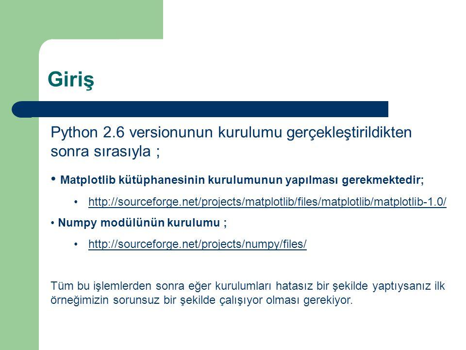 Giriş Python 2.6 versionunun kurulumu gerçekleştirildikten sonra sırasıyla ; • Matplotlib kütüphanesinin kurulumunun yapılması gerekmektedir; •http://