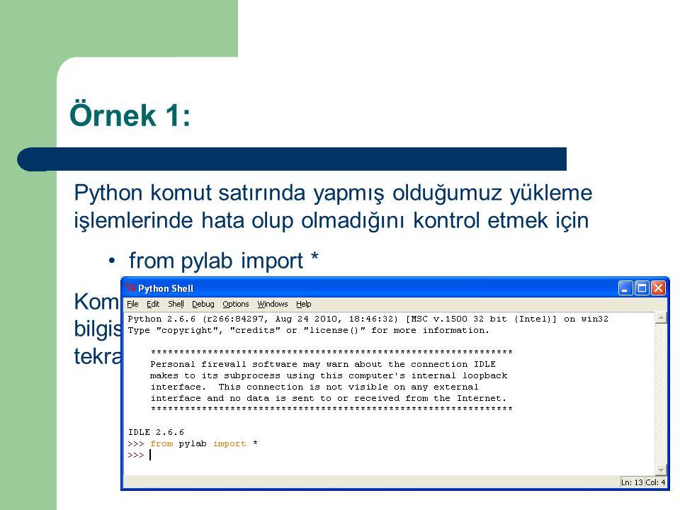 Örnek 1: Python komut satırında yapmış olduğumuz yükleme işlemlerinde hata olup olmadığını kontrol etmek için •from pylab import * Komutunu yazıyoruz.