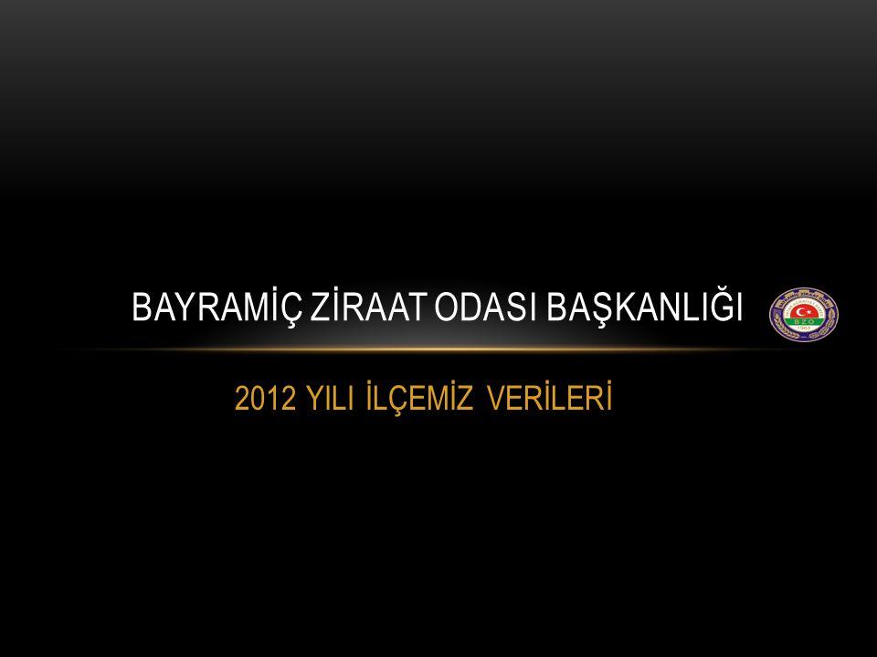 2012 YILI İLÇEMİZ VERİLERİ BAYRAMİÇ ZİRAAT ODASI BAŞKANLIĞI