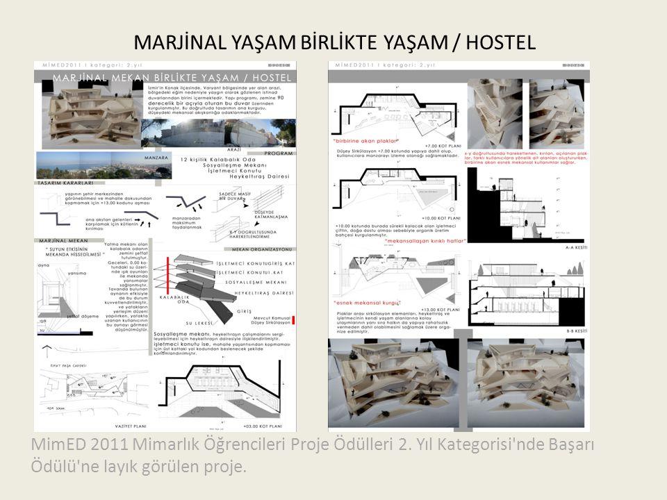MARJİNAL YAŞAM BİRLİKTE YAŞAM / HOSTEL MimED 2011 Mimarlık Öğrencileri Proje Ödülleri 2. Yıl Kategorisi'nde Başarı Ödülü'ne layık görülen proje.