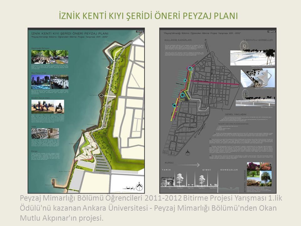 İZNİK KENTİ KIYI ŞERİDİ ÖNERİ PEYZAJ PLANI Peyzaj Mimarlığı Bölümü Öğrencileri 2011-2012 Bitirme Projesi Yarışması 1.lik Ödülü nü kazanan Ankara Üniversitesi - Peyzaj Mimarlığı Bölümü nden Okan Mutlu Akpınar ın projesi.