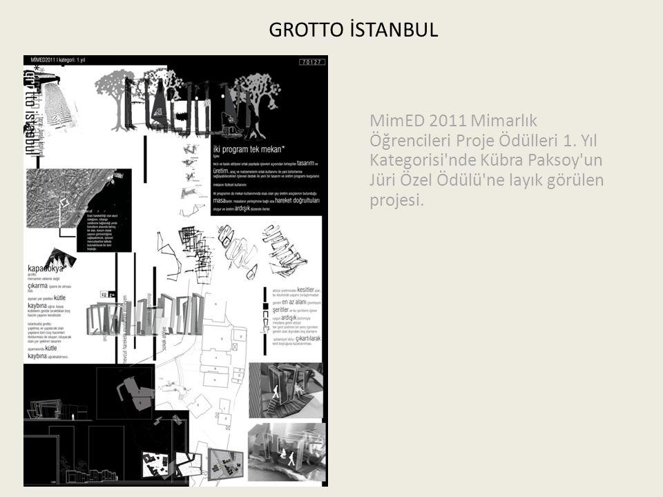 GROTTO İSTANBUL MimED 2011 Mimarlık Öğrencileri Proje Ödülleri 1. Yıl Kategorisi'nde Kübra Paksoy'un Jüri Özel Ödülü'ne layık görülen projesi.