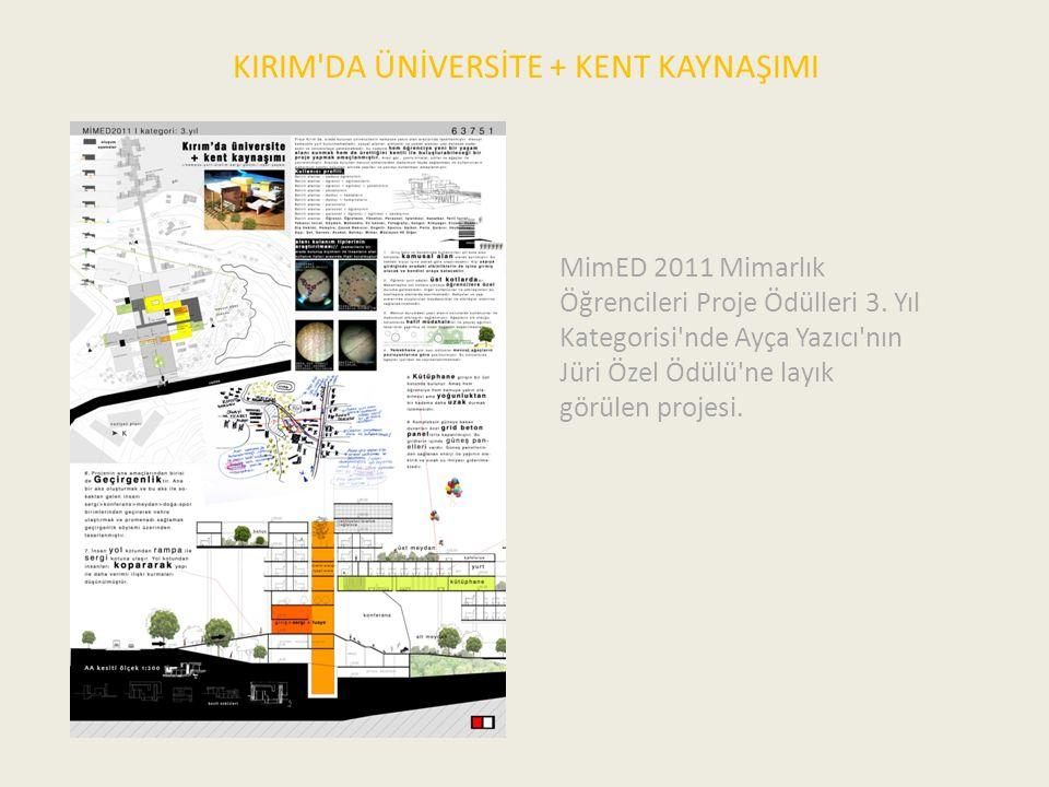 KIRIM'DA ÜNİVERSİTE + KENT KAYNAŞIMI MimED 2011 Mimarlık Öğrencileri Proje Ödülleri 3. Yıl Kategorisi'nde Ayça Yazıcı'nın Jüri Özel Ödülü'ne layık gör