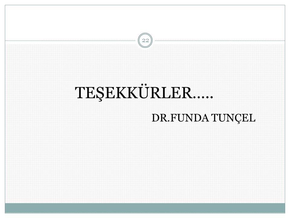 TEŞEKKÜRLER….. DR.FUNDA TUNÇEL 22